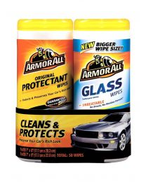 ARMORALL WIPES TWIN PACK 25 PROTECTANT + 25 GLASS
