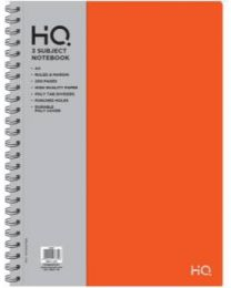 A4 HQ Poly 3 Subject Notebook 100 sheets Logo Silver Foiled - Orange